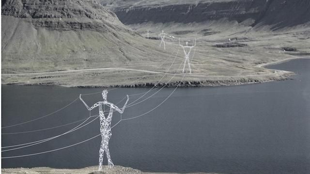 Choi+Shine's proposal, Land of Giants - an alternative to the landscape-polluting steel transmission towers of Iceland