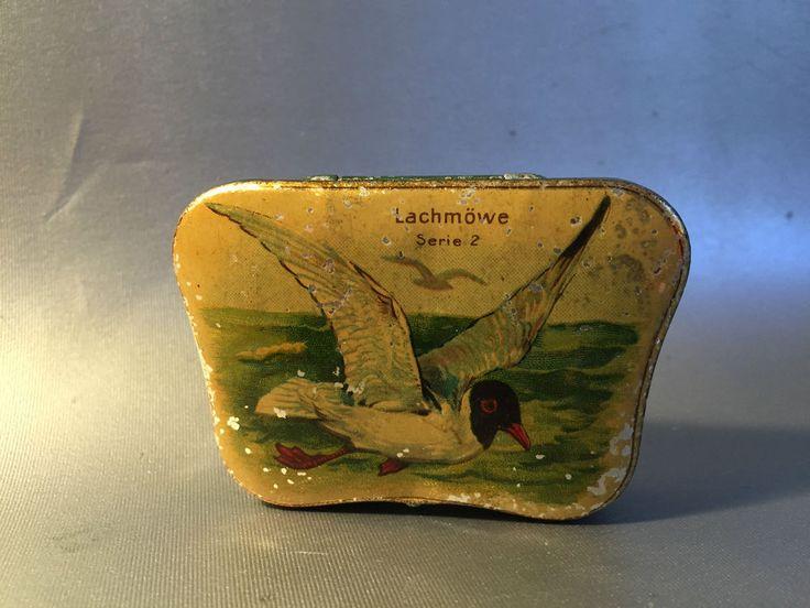 Dose Schokoladenfirma Hartwig & Vogel, um 1930, Lachmöwe Blechdose Automaten
