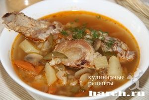 Рассольник со свиными ребрышками Панский, rassolniki solyanki pervye blyuda
