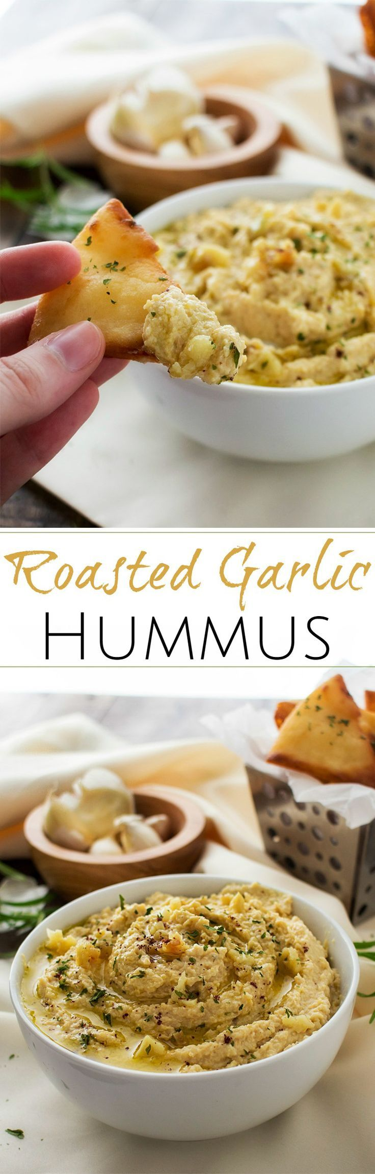 Roasted Garlic Hummus | The Chunky Chef | Creamy, rich hummus with a deep, slightly sweet roasted garlic flavor. Whip it up in the food processor and enjoy it with some crispy pita chips or naan!