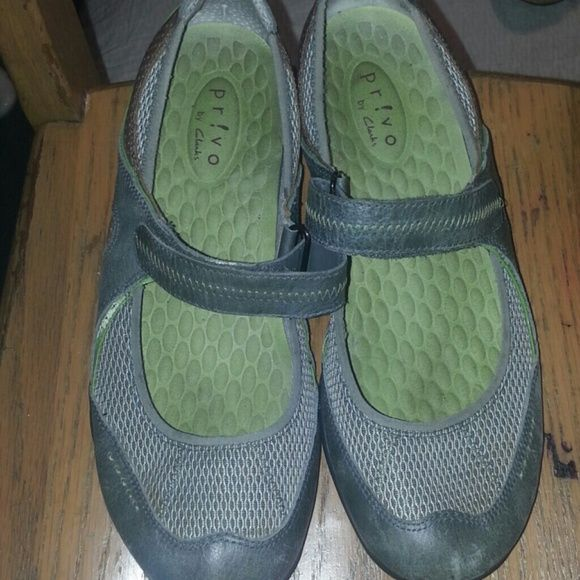 Gray & Green sneakers with velcro strap Gray & Green sneakers with velcro straps. Super comfortable. Show signs of wear, some scratches on the front of shoe, but still in good shape. Pr!vo by Clarks Shoes Sneakers