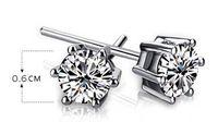 sterling silver small earrings black stud CZ diamond earrings for men white gold plated ear studs for men cubic zircon earrings