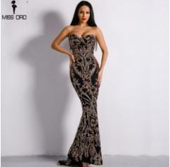 Missord 2017 Sexy New Bra Off Shoulder Retro Geometry Sequin Female Dresses  Floor Length Party Elegant ad4786a0eeb4
