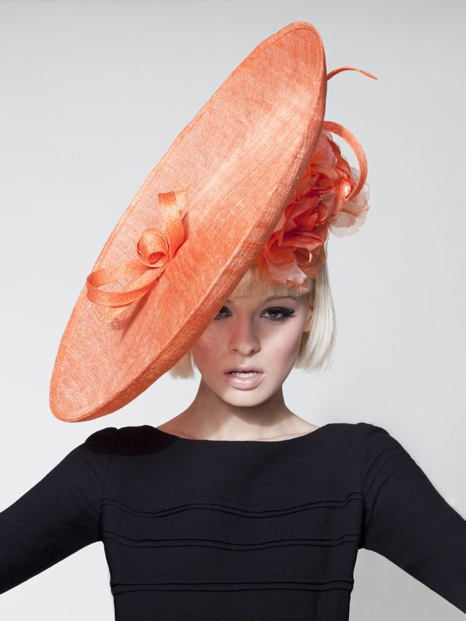 Dillon Wallwork - Satsuma orange glitter sinamay disc trimmed silk organza roses. #passion4hats