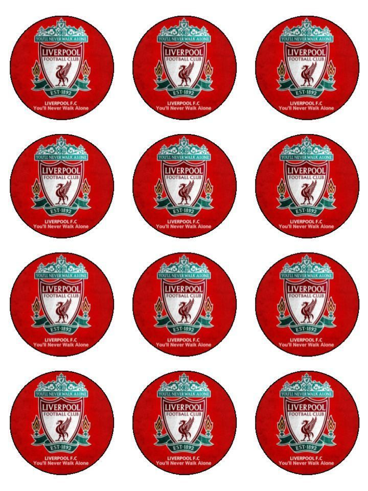 Liverpool Soccer 12 Cupcake Toppers Edible Icing Image Birthday Cake Decorations Edible Icing Images Liverpool Cake Liverpool