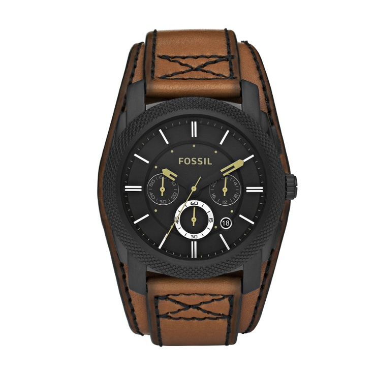 This rugged watch wears like a cuff with its oversized case and wide strap. Try it with your most casual look, or partner it with a button up and jeans.