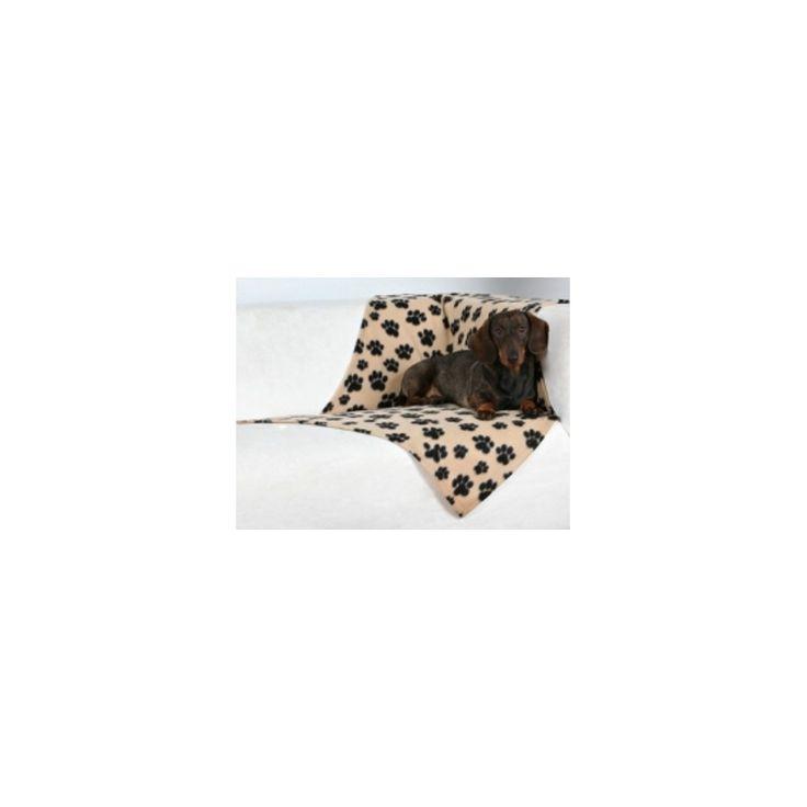 """MANTA HUELLAS BEANY, Manta para perro pequeño de felpa """"Beany"""" en color beige y con bonitas impresiones de huellas en color negro. http://bit.ly/1FURmLw"""