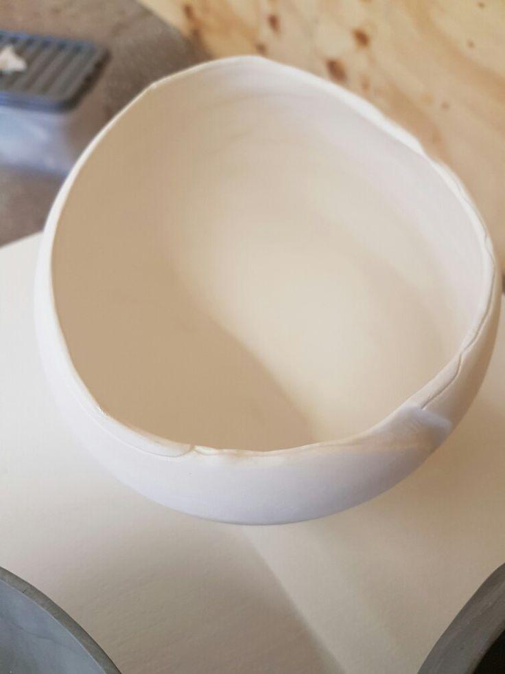 Sound Bowl, white porcelain, slip casted, carved before firing.