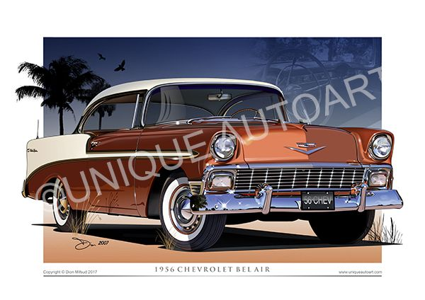 1956 Chevy Sierra Gold Car Drawing