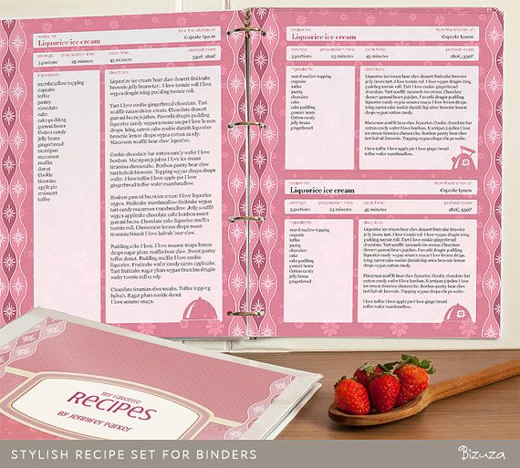 Creative Recipe Book Cover : Recipe binder printable pages editable pdf for letter