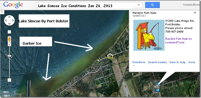 Checking out Lakes Simcoe Ice Fishing Report Map Jan 26 2013 Thanks to Randy's Fish Huts Port Bolster