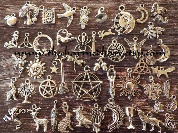 100 Mixed Tibetan Silver Charms Jewelry Wholesale Bulk Pagan Wiccan Boho