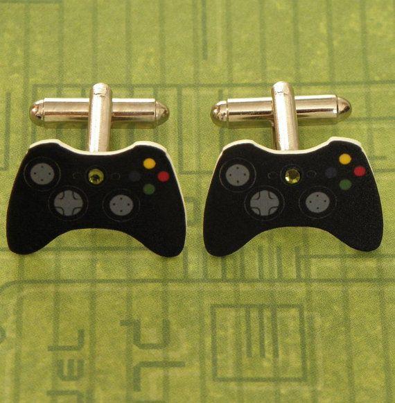 gamer black xbox 360 elite video games controller cufflinks xbox360