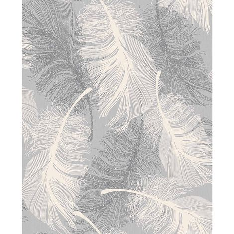 Coloroll Feather Blown Vinyl Wallpaper in Grey & White M0923 - Flooring, painting and decorating