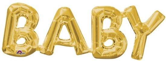 Folieballong Bokstäver BABY Guld i gruppen Barnrum hos Köpbarnvagn.se (026635337632)
