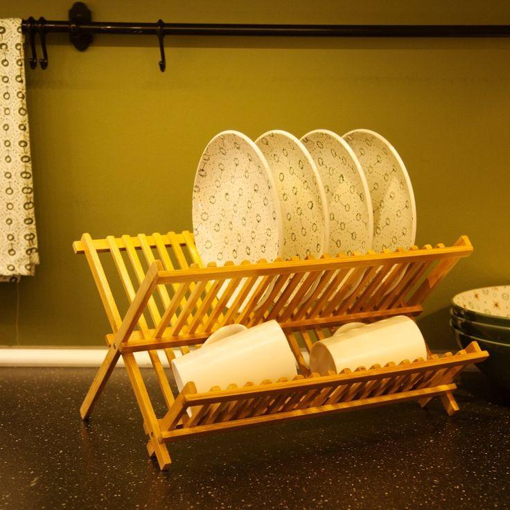Amazon|(ハンキ)Hankey ディッシュラック 水切り皿立て 42x32x26cm 天然竹製 折りたたみ式食器棚 キッチン収納 DR01|キッチンラック オンライン通販