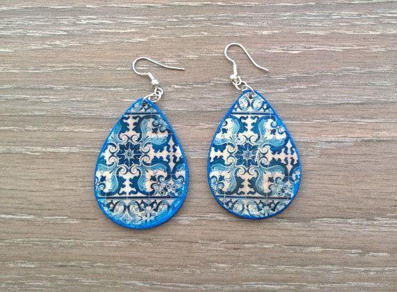 Portuguese tile teardrop earrings Portuguese jewelry by XTory