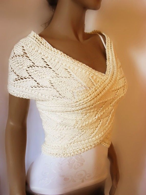 Hand knit Cross Sweater Capelet Vest  in pure soft by Pilland, $98.00