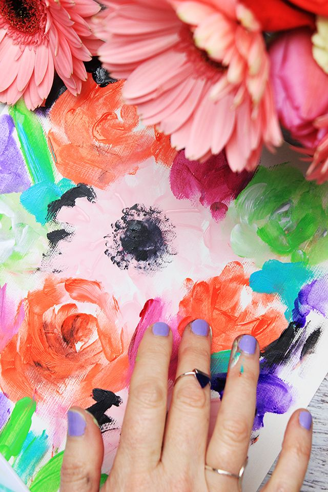 Finger Painting Watercolor Flowers