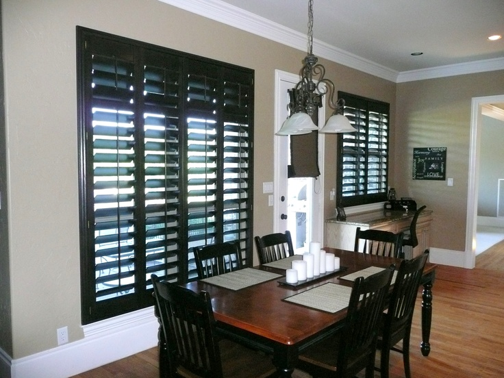 Basswood Stained Shutters In Black Walnut Complement The