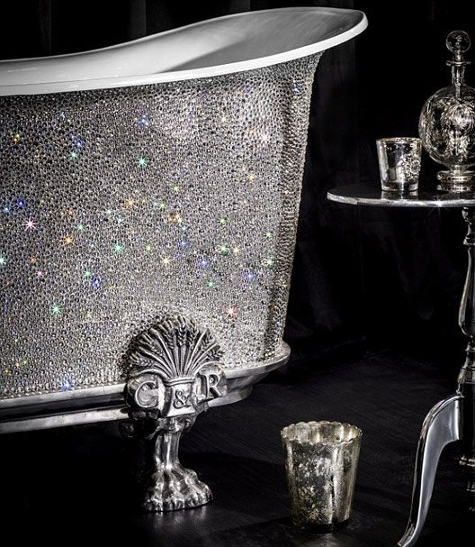 Only the best darling......This luxury bathtub boasts over 22,000 white Swarovski crystals, in four sizes. Each of the crystals has been individually hand applied on a bath, made from cast metal with an enamel interior. The whole painstakingly process took over 200 hundred hours.......CA