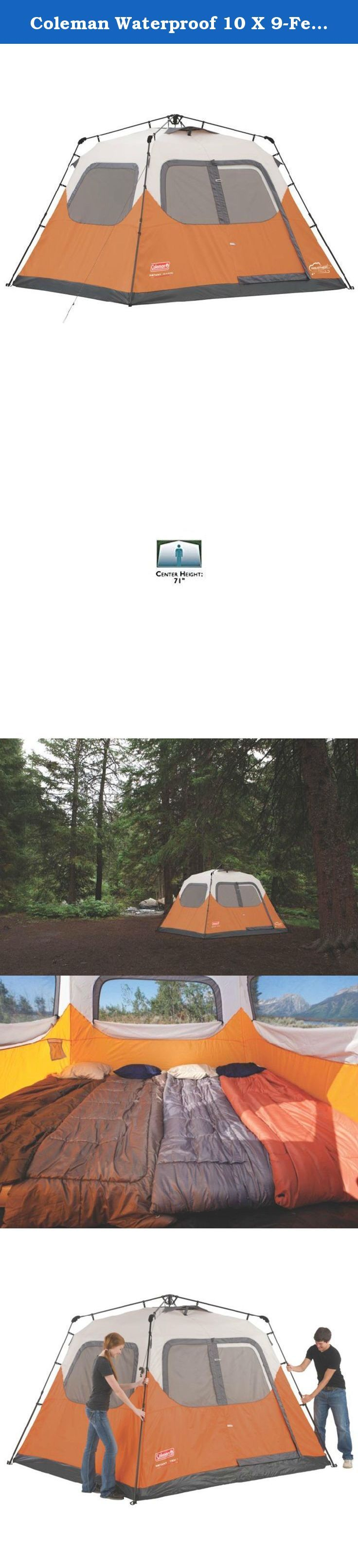 Coleman Waterproof 10 X 9-Feet 6-Person Instant Tent, Orange. The Coleman 6-Person Camping Instant Tent comes with the WeatherTec system that guarantees to keep you dry. This tent has poles that are pre-attached to the tent, and takes only one minute to set up and take down. It features a spacious interior, 150D fabric (twice as thick as regular tent fabric) and there's no need for a separate rainfly because the tent is fully taped. The tent can accommodate two queen sized beds, and with…