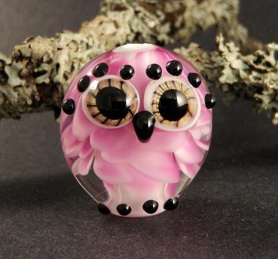 Handmade Lampwork Glass Owl Bead  Pink Baby by PeggySudzLampwork,