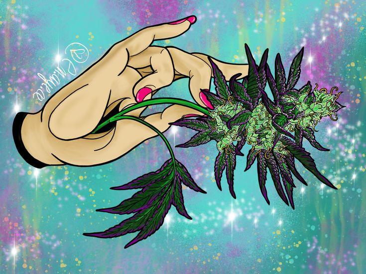 PINS @kushqueendabs    Mother Mudra Cannabis art by @em.aye.ee