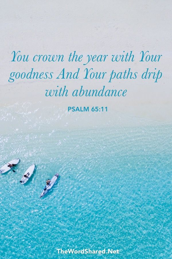 You crown the year with Your goodness, And Your paths drip with abundance. Psalms 65:11  #Bible #Scripture #BibleVerse #TheWordShared