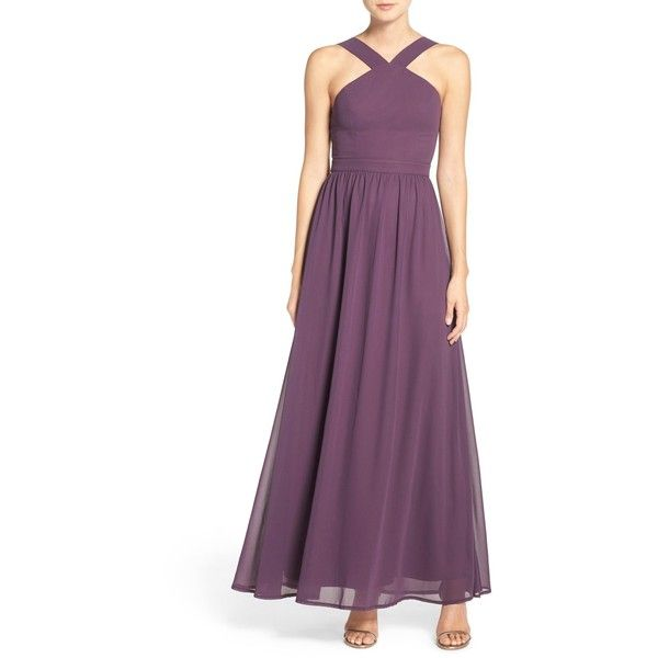 LULUS Cross Neck A-Line Chiffon Gown ($68) ❤ liked on Polyvore featuring dresses, gowns, chiffon halter dress, a line evening gowns, purple ball gowns, purple evening gowns and a line dress