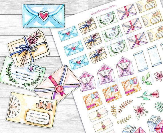 Vintage Watercolor Happy Mail Stationery Stickers. These printable, digital stickers are hand drawn, inspired by letters and envelopes I own (or would love to have!) and dry flowers, roses and leaves as decoration. Perfect to mark shipping dates in your planner, journal, or to decorate a real letter with!  _________________________________________  THIS listing is for the DIGITAL FILE DOWNLOAD. No physical item will be shipped! Digital sticker purchases wont be refunded…