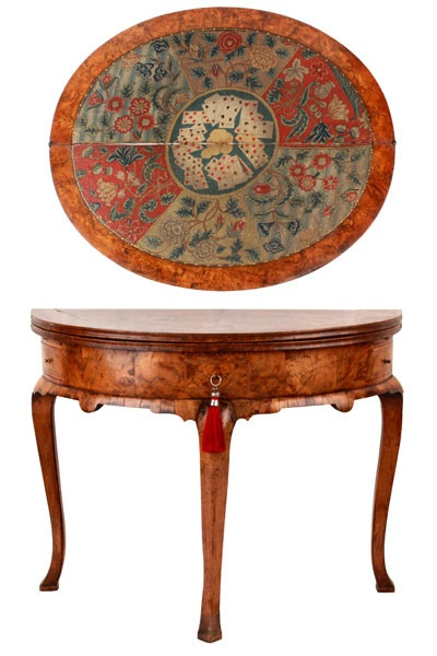 An Early George I Walnut U0026 Featherbanded Demi Lune Foldover Gate Leg Card  Or Games Table With Petit Point Needlework Top, The Frieze Fitted With Two  Drawers ...