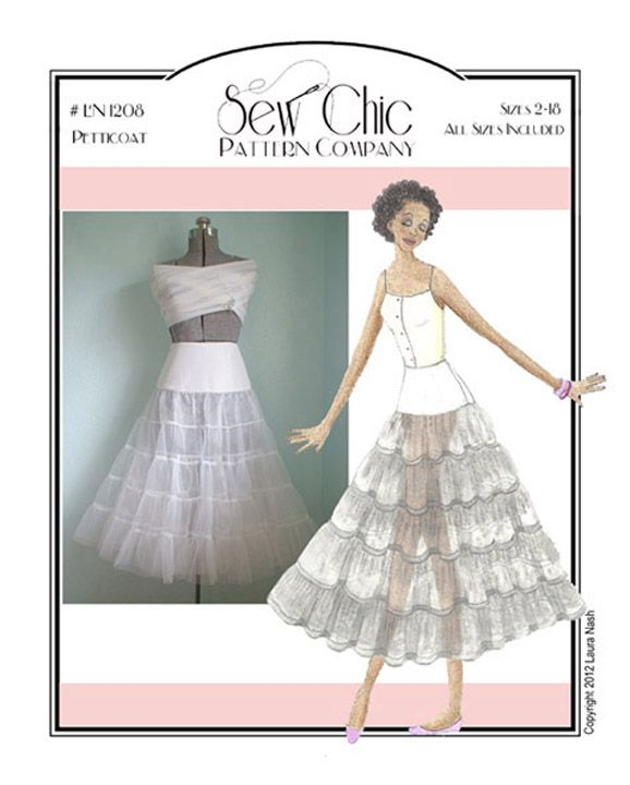 $15 Crinoline   Petticoat Sewing Pattern   Sew Chic Pattern Company   features 2 layers of tulle / crinoline / net with a smooth fitted yoke at waist so it's fitted to waist not elastic waistband that adds a bunch of fabric and bulk to your waist where you don't need it! Back zip. Can make as long or as short as want as tulle / net doesn't fray. Could add nylon or rayon Bemberg lining so it doesn't scratch against skin?