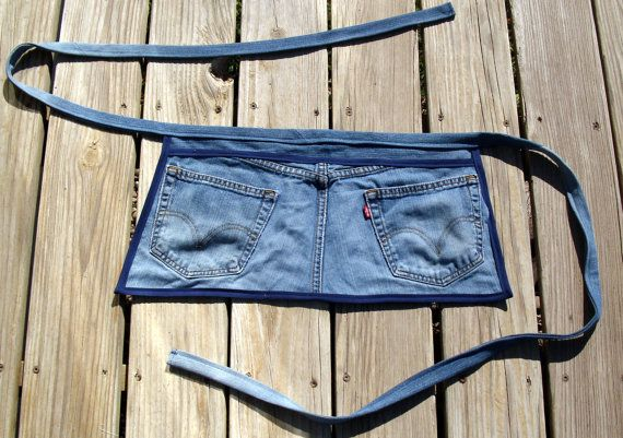 Upcycled denim utility apron recycled jeans by AmysQuiltsNThings, $15.00