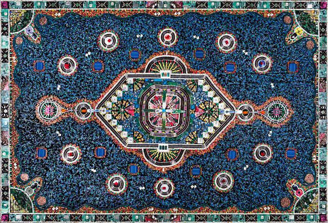 An Ornate Rug Made of Discarded Computer Parts and Other Electrical Objects textiles computers. Created by Frederico Uribe. Photography by Pipe Yanguas