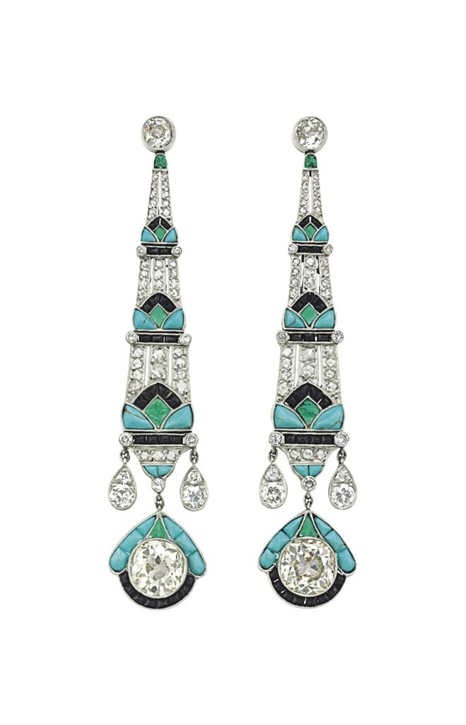 A pair of diamond and multi-gem ear pendants #ChristiesJewels