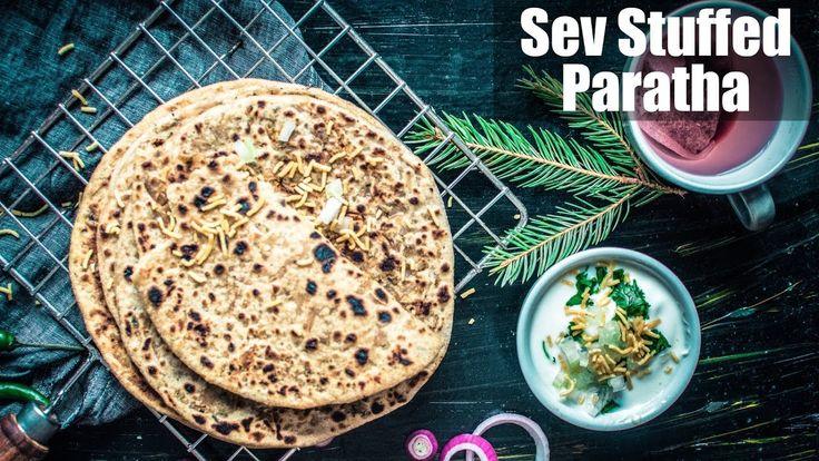 Sev Stuffed Paratha Recipe | How To Make Bhujia Paratha | सेव पराठा | Qu...