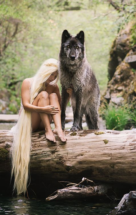 Rogue the Wolfdog and Dani Vierra, by Andrea Borden