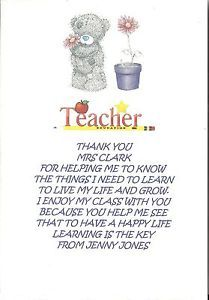 Details about PERSONALISED THANK YOU TEACHER POEM LEAVING