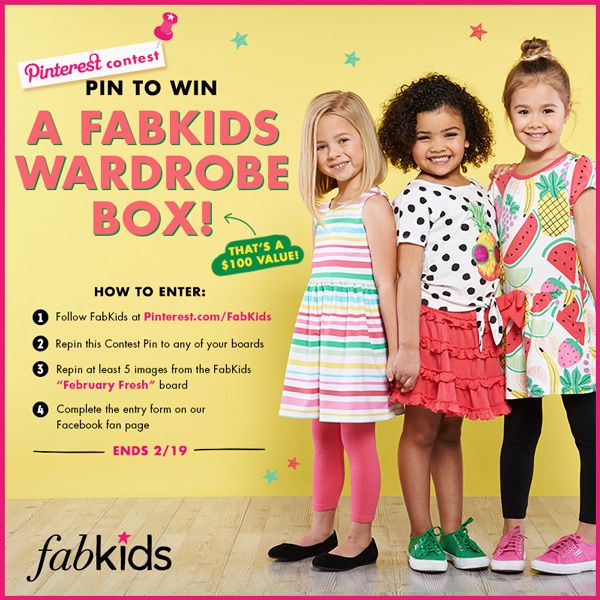 PIN TO WIN! Enter the February Fresh Pinterest Contest for a chance to win a brand-new FabKids wardrobe! Ends 2/19 @FabKids #FabKidsFebFresh