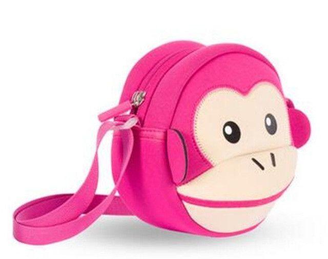 NOHOO Waterproof Kid Bags Fashion Cartoon Kids Messenger Bags 3D Monkey Handbags Children Girls Shoulder Bags Crossbody Bags