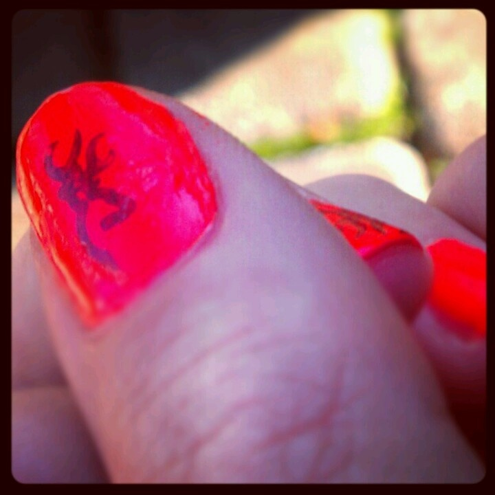 My hunter orange & Browning Camo nails. I'm ready to bag one this weekend & I'll look cute when I do it. :-p