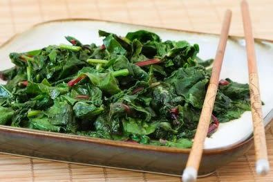 Recipe for Spicy Stir-Fried Radish Greens and/or Swiss Chard