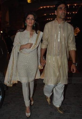 Twinkle Khanna in Abu Jani-Sandeep Khosla- I love this look for a home party or temple.