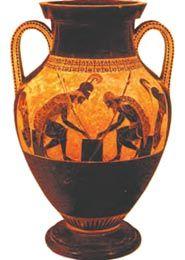 Αμφορέας διακοσμημένος από τον Εξηκία, Αθηναίο αγγειογράφο. Οι μορφές ζωγραφίζονται με μαύρο χρώμα πάνω στον πηλό (β'μισό 6ου αι. π.Χ.). (Βατικανό, Γρηγοριανό - Ετρουσκικό Μουσείο)