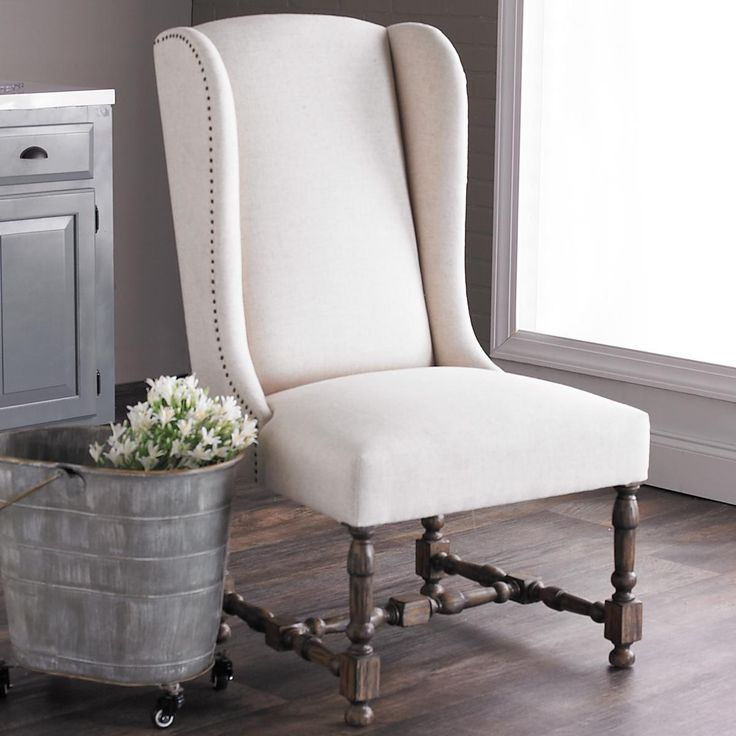 Lovely Weathered Pine Upholstered Wing Chair Weathered Pine With Light Gray Wash  And A Tailored Cream Linen