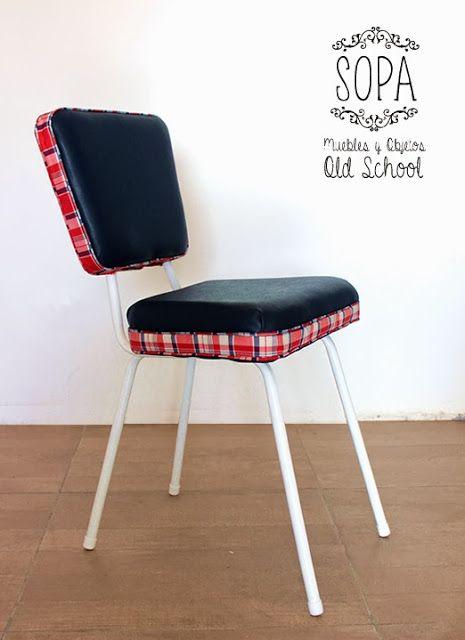 Silla Americana Azul y Oxford restaurada por SOPA, Muebles y Objetos Old School