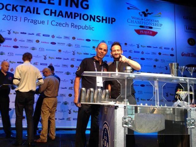 Prague 2013 Konstantinos Frantzis Flair Competitor for Greece with Dimitris Zappas Flairtending Judge