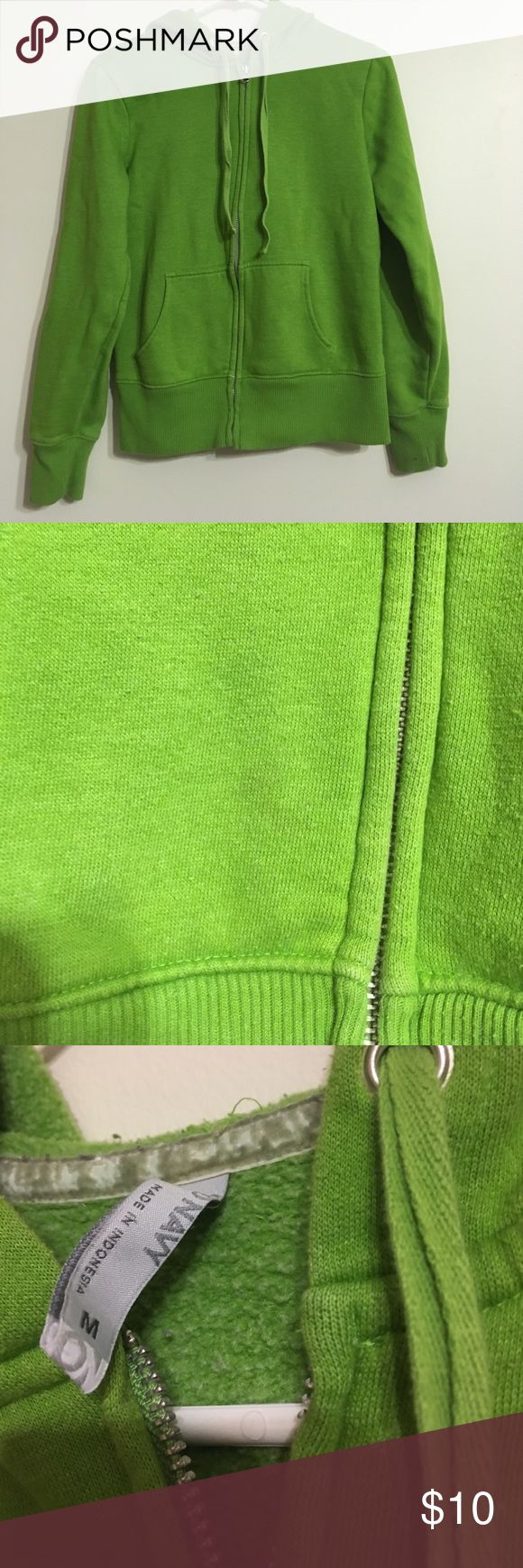 Green zip up hoodie, size M Green zip up hoodie, size M, old navy small not noticeable stain on pocket (smoke free, pet friendly home) Old Navy Tops Sweatshirts & Hoodies