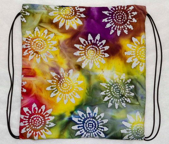 Tie Dye draw string bag back pack by TEDnDEESphotography on Etsy